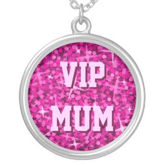 Glitz Pink 'VIP MUM' necklace round