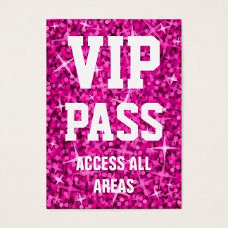 Glitz Pink 'VIP PASS' business card chubby