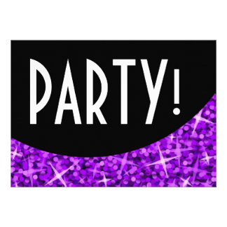 Glitz Purple black curve Party invitation