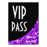 """Glitz Purple black curve """"VIP Pass"""" invitation 5"""" X 7"""" Invitation Card"""