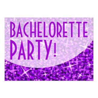 Glitz Purple curve Bachelorette Party invitation