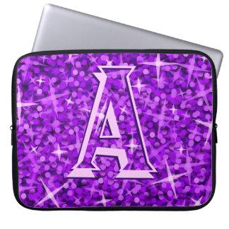 Glitz Purple 'monogram' laptop sleeve 15 inch