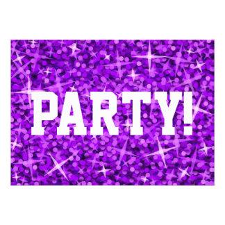 Glitz Purple Party invitation white text