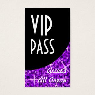 Glitz Purple 'VIP Pass' Black Curve business card