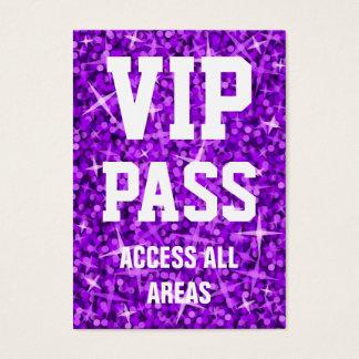 Glitz Purple 'VIP PASS' business card chubby