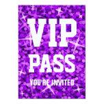 """Glitz Purple 'VIP PASS' invitation 5"""" X 7"""" Invitation Card"""
