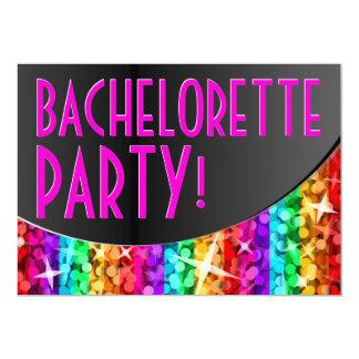 Glitz Rainbow Stripe curve 'Bachelorette Party' Invitation