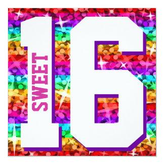 """Glitz Rainbow Stripe 'Sweet 16' invitation square 5.25"""" Square Invitation Card"""