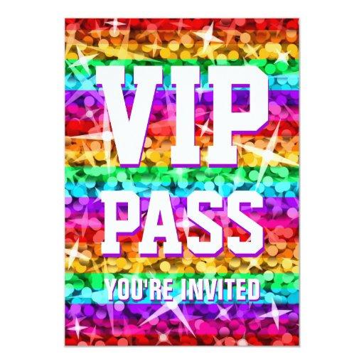 Glitz Rainbow Stripe 'VIP PASS' invitation