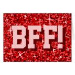 Glitz Red 'BFF!' 'Happy Birthday' greetings card