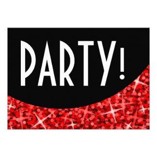 Glitz Red black curve Party invitation