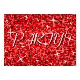 Glitz Red Party invitation pink text