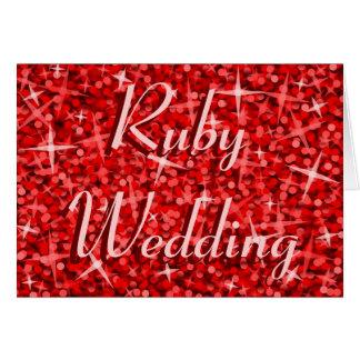 Glitz Red 'Ruby Wedding' card