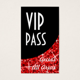 Glitz Red 'VIP Pass' Black Curve business card