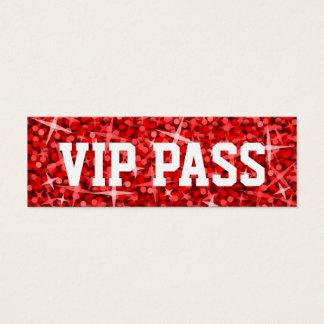 Glitz Red 'VIP PASS' business card skinny