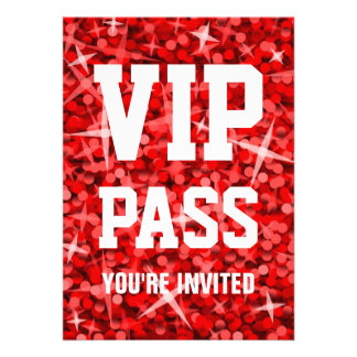 Glitz Red VIP PASS invitation