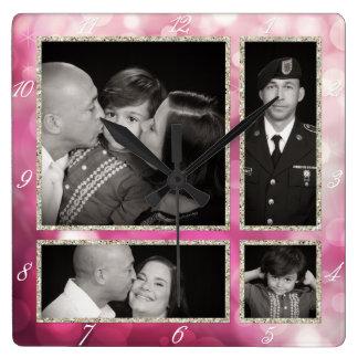 Glitz rosado de la chispa de Bokeh del collage Reloj Cuadrado