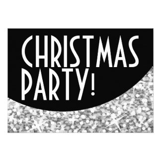 Glitz Silver black curve Christmas Party Custom Invites