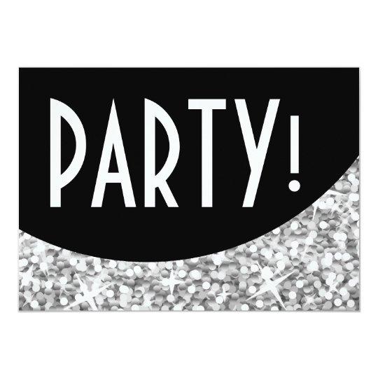 """Glitz """"Silver"""" black curve 'Party!' invitation"""