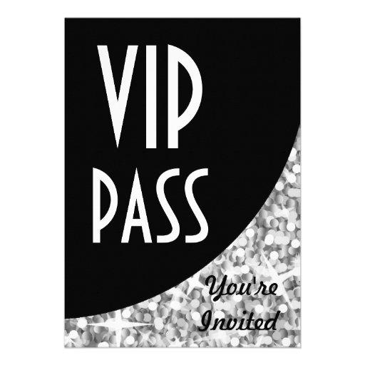 """Glitz """"Silver"""" black curve """"VIP Pass"""" invitation"""