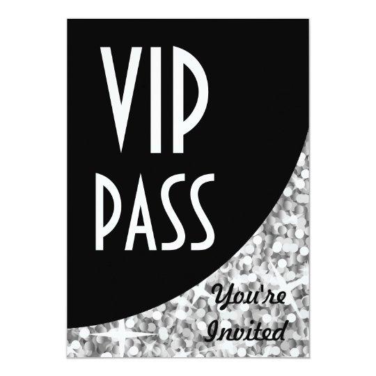 Glitz Silver black curve VIP Pass invitation Zazzlecom