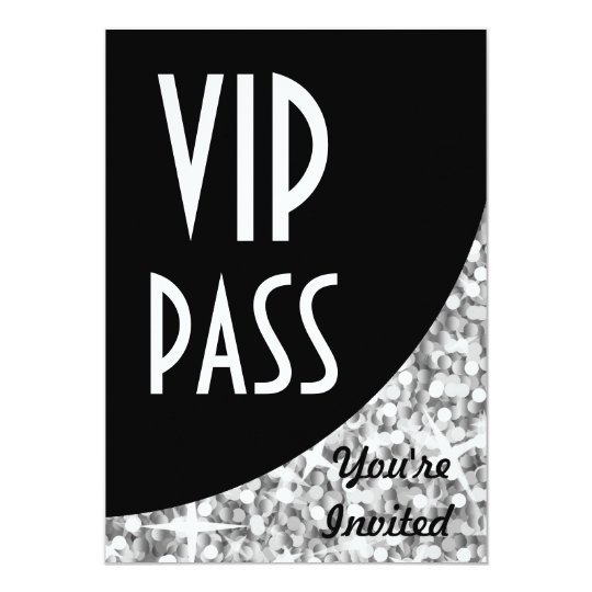 Glitz silver black curve vip pass invitation zazzle glitz silver black curve vip pass invitation stopboris Image collections