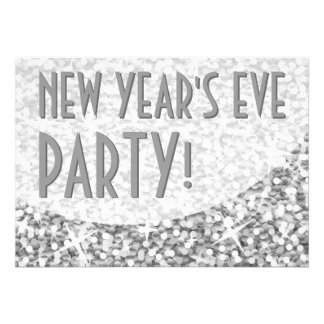 Glitz Silver curve New Year s Eve Party Announcements