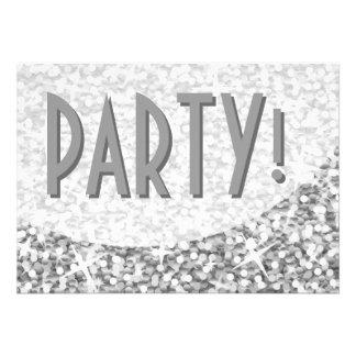 Glitz Silver curve Party invitation