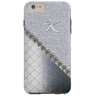 Glitz Silver Tone Monogram iPhone 6 Plus case