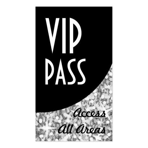 Glitz Silver 'VIP Pass' Black Curve business card