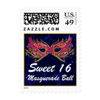 Glitz Sweet 16 Masquerade Party Invitation Stamp