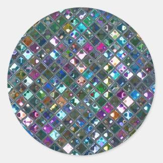 Glitz Tiles Multicoloured 2 print sticker round
