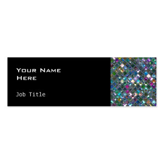 Glitz Tiles Multicoloured 2 side skinny black Double-Sided Mini Business Cards (Pack Of 20)