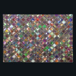 "Glitz Tiles Multicoloured print placemat<br><div class=""desc"">Placemat with a stylish colourful,  diagonal glass block tiled look design in warm tones. Can be used as a background for your own text,  images and ideas. Please note this is a printed digital art image. it does not shine or contain real sparkles.</div>"