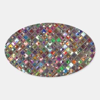 Glitz Tiles Multicoloured print sticker oval