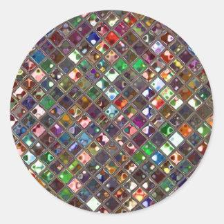 Glitz Tiles Multicoloured print sticker round