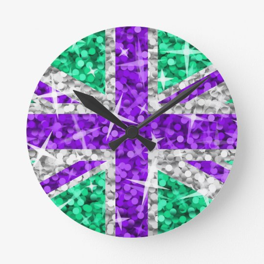 Glitz UK Purple clock round