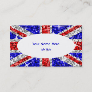 British union jack flag in glitter business cards zazzle glitz uk white oval business card template reheart Choice Image