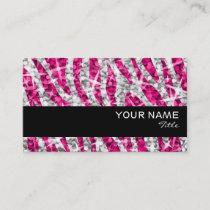 Glitz Zebra Pink  business card black stripe