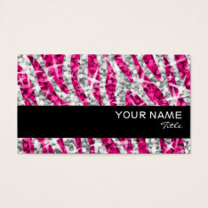 Glitz Zebra Pink  Business Card Black Stripe at Zazzle