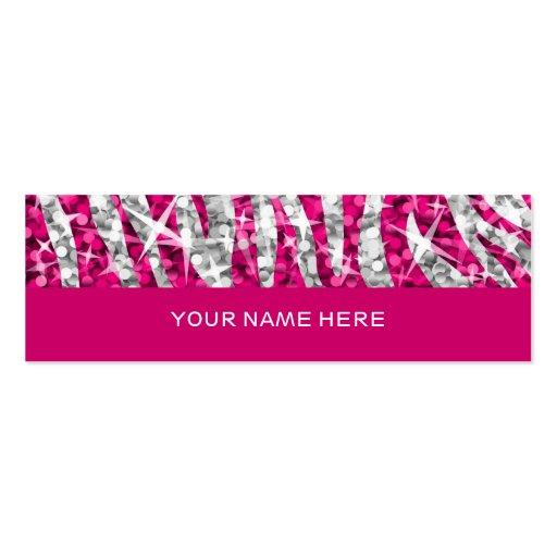 Glitz Zebra Pink business card skinny pink