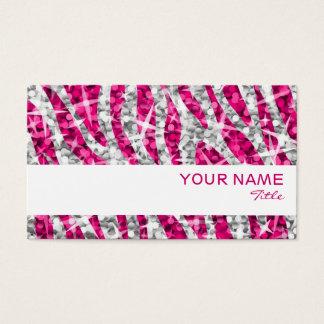 Glitz Zebra Pink business card white stripe