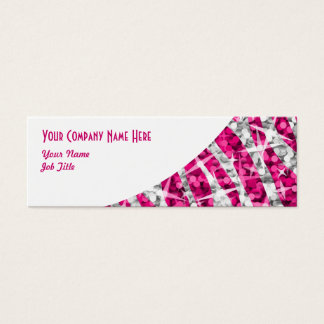 Glitz Zebra Pink white curve skinny Mini Business Card