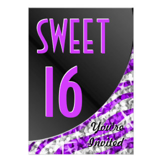 Glitz Zebra Purple curve Sweet 16 invitation