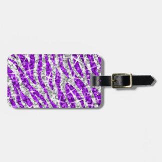 Glitz Zebra Purple luggage tag 2 sides