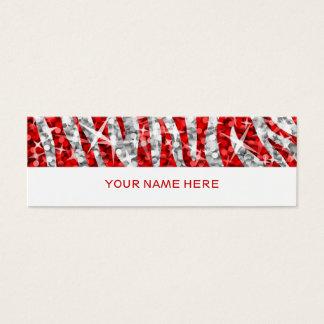 Glitz Zebra Red business card skinny white