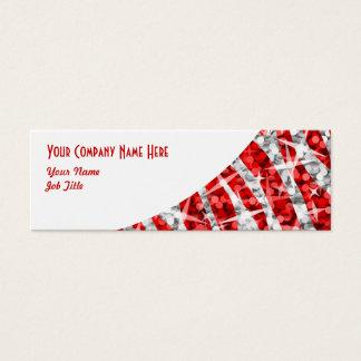 Glitz Zebra Red white curve skinny Mini Business Card