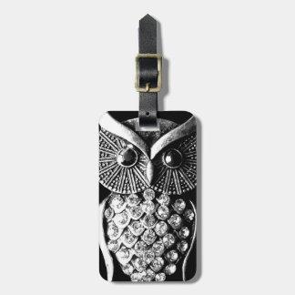 Glitzy Black Owl Design with Address Details Luggage Tag