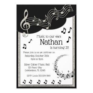 Glitzy Black White Musical Notes Birthday Invitation