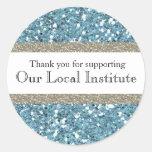 Glitzy Blue Glitter Personalized Seal Sticker